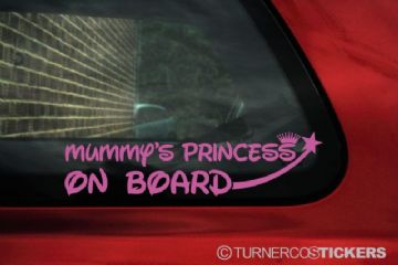 'Mummy's Princess on board' sticker / Decal. - for Child / baby Girl inside car warning